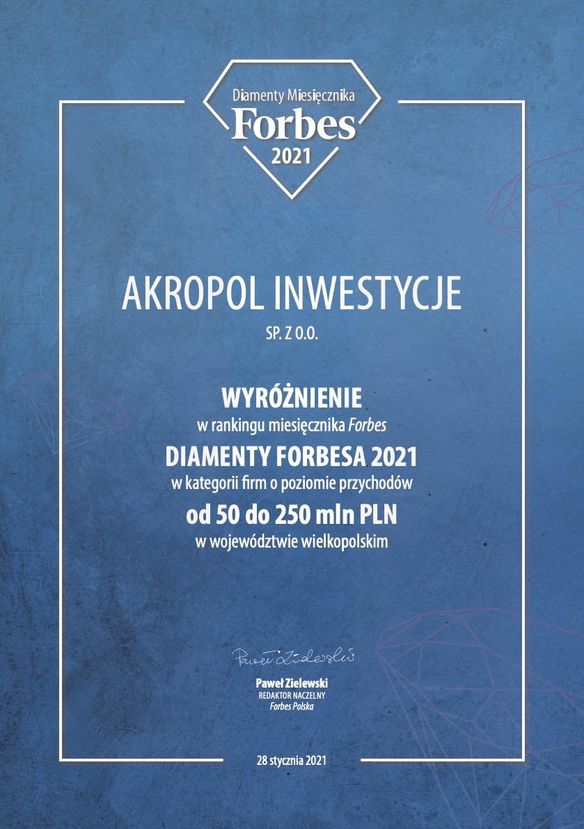 Akropol Inwestycje Forbes wyróżnienie